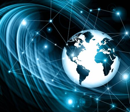 mobile communications: Best Internet Concept. Globe, glowing lines on technological background. Electronics, wireless rays, symbols Internet, television, mobile and satellite communications. Technology illustration, 3D illustration Stock Photo
