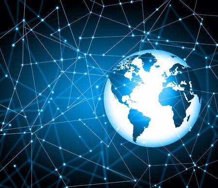 mobile communications: Best Internet Concept. Globe, glowing lines on technological background. Electronics,wireless rays, symbols Internet, television, mobile and satellite communications. Technology illustration, 3D illustration