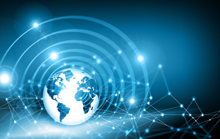 mobile communications: Best Internet Concept. Globe, glowing lines on technological background. Electronics, Wi-Fi, rays, symbols Internet, television, mobile and satellite communications. Technology illustration, 3D illustration Stock Photo