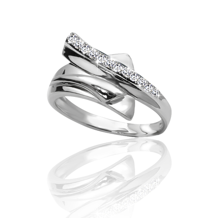 fiancee: The best engagement ring, gold with stone. 3D illustration