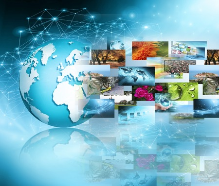 Television and internet production technology concept. Best Internet Concept of global business Stock Photo