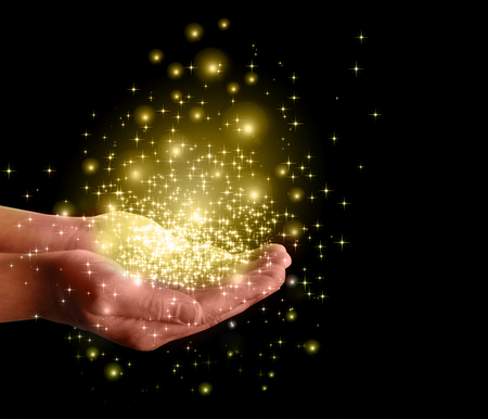 rood: stars and magic in your hands Stock Photo