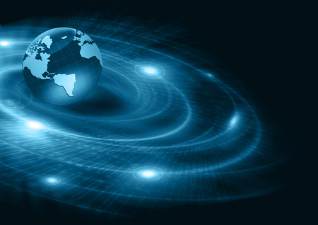 locomotion: Best Internet Concept. Globe, glowing lines on technological background. Electronics, Wi-Fi, rays, symbols Internet, television, mobile and satellite communications. Technology illustration, 3D illustration Stock Photo