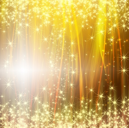 snowflakes and stars golden shining descending on background Stock Photo