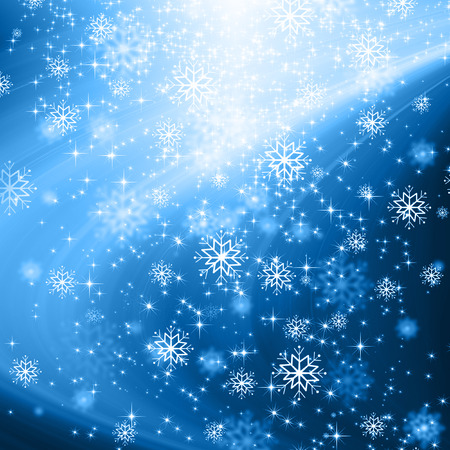 descending: snowflakes and stars blue shining descending on background
