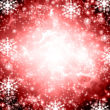 descending: snowflakes and stars red shining descending on background Stock Photo