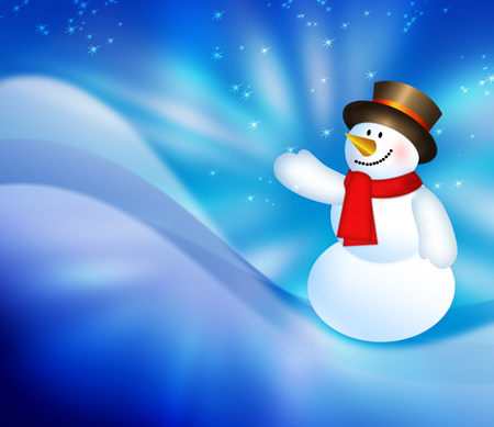 Christmas snowman background, snowflakes and stars blue shining descending on background