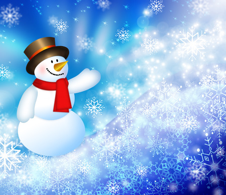 descending: Christmas snowman background, snowflakes and stars blue shining descending on background