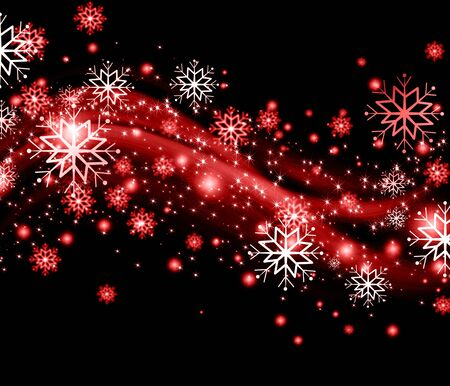 snowflakes and stars red shining descending on background Stock Photo