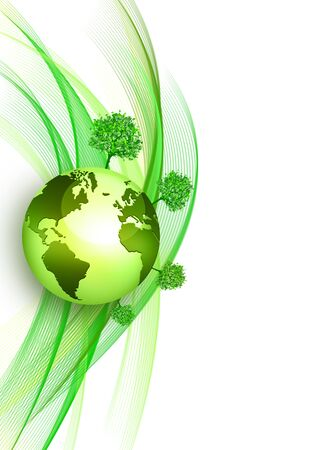 Green wavy background with globe. Ecological background