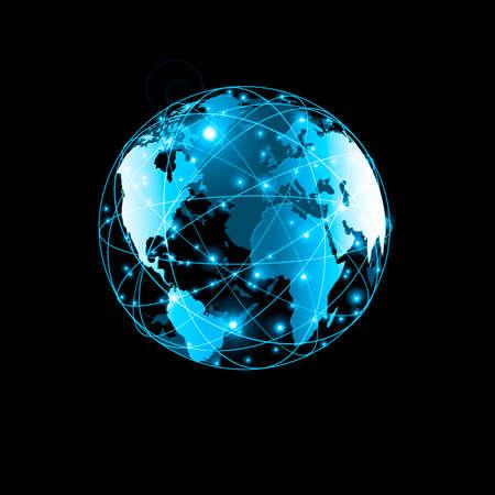 グローバル ビジネスの最高のインターネットの概念。グローブ、技術背景に光る線。WiFi、光線、インターネット、3 D の図の記号します。 写真素材 - 77352779