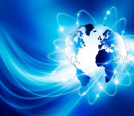 グローバル ビジネスの最高のインターネットの概念。グローブ、技術背景に光る線。光線、Wi Fi 記号インターネット、3 D イラストレーション 写真素材 - 77352794