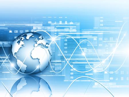グローバル ビジネスの最高のインターネットの概念。グローブ、技術背景に光る線。光線、Wi Fi 記号インターネット、3 D イラストレーション 写真素材 - 79010474