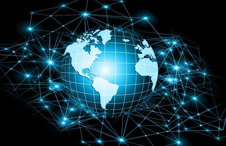 最もよいインターネットの概念。グローブ、技術背景に光る線。エレクトロニクス、Wi-Fi、光線、シンボル インターネット、テレビ、携帯電話、衛星通信。技術イラスト、3 D イラスト