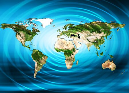 business graphics: Physical world map illustration. Stock Photo