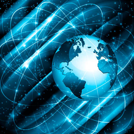 グローバルビジネスのベストインターネットコンセプト。グローブ、技術的な背景に輝くライン。WiFi、光線、シンボルインターネット、3Dイラスト 写真素材 - 79671452