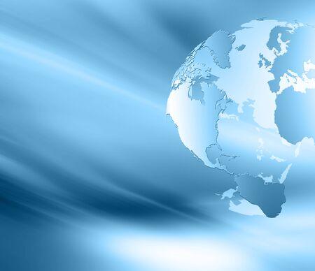 グローバル ビジネスの最高のインターネットの概念。グローブ、技術背景に光る線。光線、Wi Fi 記号インターネット、3 D イラストレーション 写真素材 - 79833986