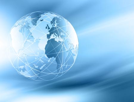 グローバル ビジネスの最高のインターネットの概念。グローブ、技術背景に光る線。WiFi、光線、インターネット、3 D の図の記号します。