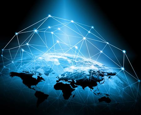 宇宙からの地球。概念シリーズからグローバル ビジネスの最高のインターネットの概念。3 D イラストレーション 写真素材 - 80178316