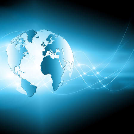 Best Internet Concept of global business. Globe, glowing lines on technological background. WiFi, rays, symbols Internet, 3D illustration