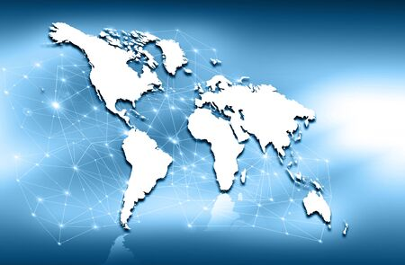 imaginary line: World map on a technological background, glowing lines symbols of the Internet, radio, television, mobile and satellite communications. Stock Photo