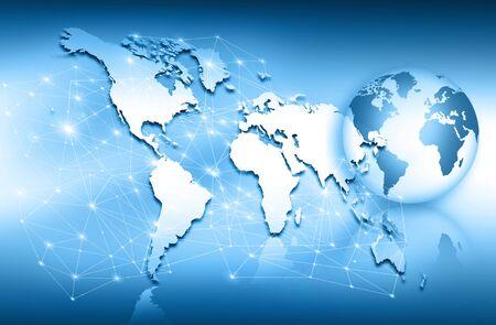 グローバル ビジネスの最高のインターネットの概念。グローブ、技術背景に光る線。WiFi、光線、インターネット、3 D の図の記号します。 写真素材 - 80947088