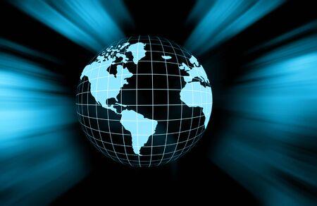 グローバル ビジネスの最高のインターネットの概念。グローブ、技術背景に光る線。WiFi、光線、インターネット、3 D の図の記号します。 写真素材 - 81285847