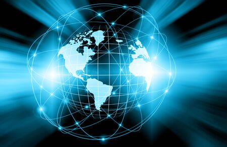 fictional: Best Internet Concept of global business. Globe, glowing lines on technological background. Wi-Fi, rays, symbols Internet, 3D illustration Stock Photo
