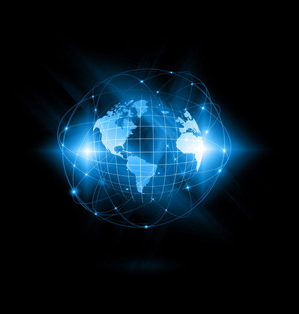 fictional: Best Internet Concept of global business. Globe, glowing lines on technological background. WiFi, rays, symbols Internet, 3D illustration
