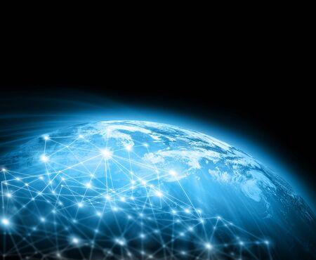 宇宙からの地球。概念シリーズからグローバル ビジネスの最高のインターネットの概念。3 D イラストレーション 写真素材 - 81290893
