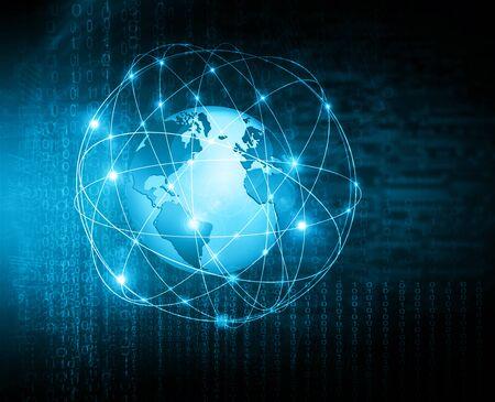 グローバルビジネスのベストインターネットコンセプト。グローブ、技術的な背景に輝くライン。Wi-Fi、光線、シンボルインターネット、3Dイラスト 写真素材 - 81796294
