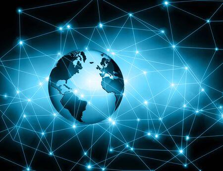 グローバル ビジネスの最高のインターネットの概念。グローブ、技術背景に光る線。光線、Wi Fi 記号インターネット、3 D イラストレーション 写真素材 - 82021261