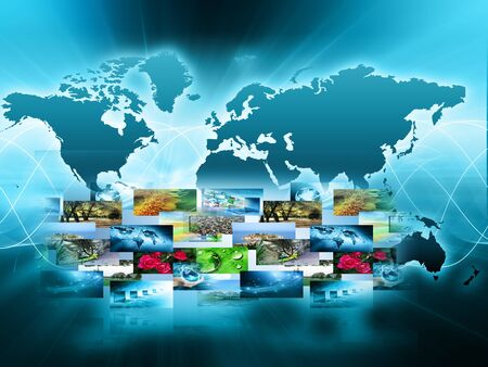 World map on a technological background, glowing lines symbols of the Internet, radio, television, mobile and satellite communications. Stock Photo