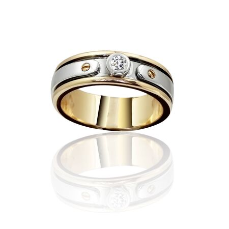 Engagement Gold with stone ring. 3D illustration Stock Photo