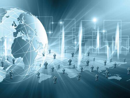 グローバル ビジネスの最高のインターネットの概念。グローブ、技術背景に光る線。光線、Wi Fi 記号インターネット、3 D イラストレーション