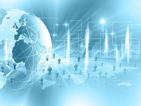 グローバルビジネスのベストインターネットコンセプト。グローブ、技術的な背景に輝くライン。Wi-Fi、光線、シンボルインターネット、3Dイラスト 写真素材 - 84494020