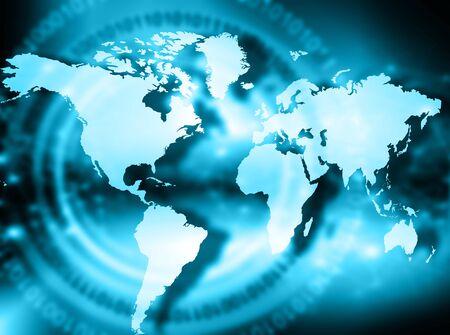グローバル ビジネスの最高のインターネットの概念。グローブ、技術背景に光る線。光線、Wi Fi 記号インターネット、3 D イラストレーション 写真素材 - 84469556