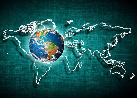 宇宙からの地球。概念シリーズからグローバル ビジネスの最高のインターネットの概念。NASA から提供されたこのイメージの要素です。3 D イラスト 写真素材