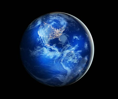 宇宙からの地球。概念シリーズからグローバル ビジネスの最高のインターネットの概念。NASA から提供されたこのイメージの要素です。3 D イラストレーション 写真素材 - 84949687