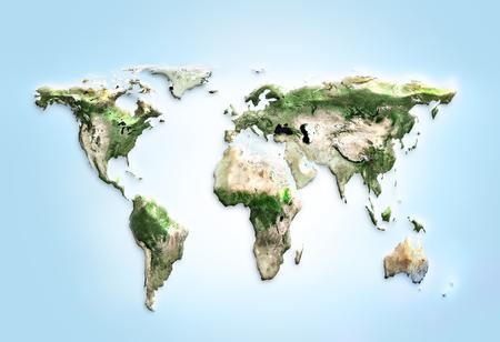 物理的な世界地図のイラスト。NASA から提供されたこのイメージの要素 写真素材