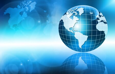 electronic background: Best Internet Concept of global business. Globe, glowing lines on technological background. Wi-Fi, rays, symbols Internet, 3D illustration Stock Photo