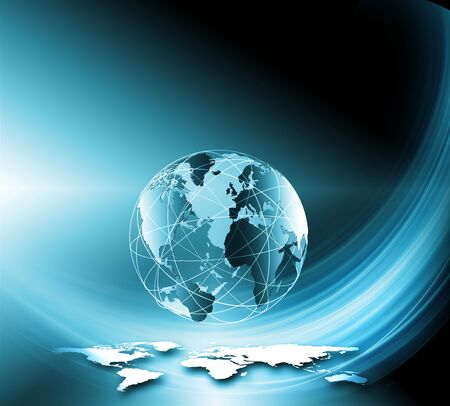 numbers: Best Internet Concept of global business. Globe, glowing lines on technological background. Rays, symbols Internet, 3D illustration