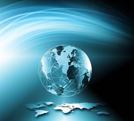 グローバル ビジネスの最高のインターネットの概念。グローブ、技術背景に光る線。光線、インターネット、3 D の図を記号します。 写真素材 - 86098331