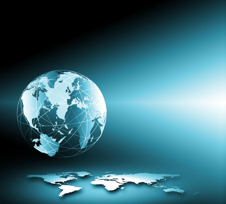 numbers abstract: Best Internet Concept of global business. Globe, glowing lines on technological background. Rays, symbols Internet, 3D illustration
