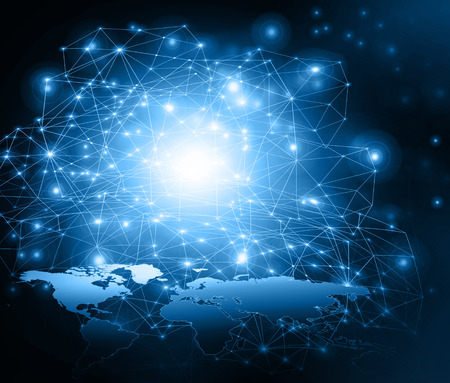 Best Internet Concept of global business.Technological background. Electronics, WiFi, rays, symbols of the Internet, television, mobile and satellite communications