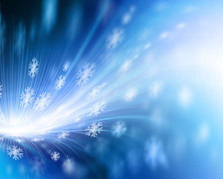 snowflakes and stars descending on background