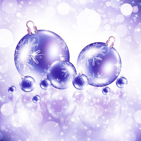 Christmas purple background with balls
