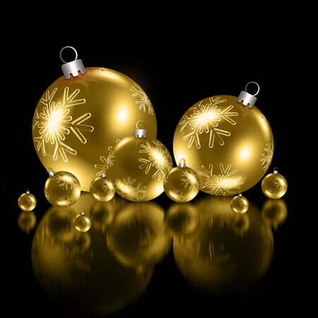 Background with Christmas golden baubles Stock Photo