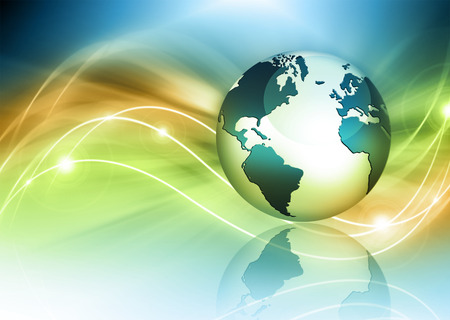 Best Internet Concept of global business. Globe, glowing lines on technological background. Stock Photo