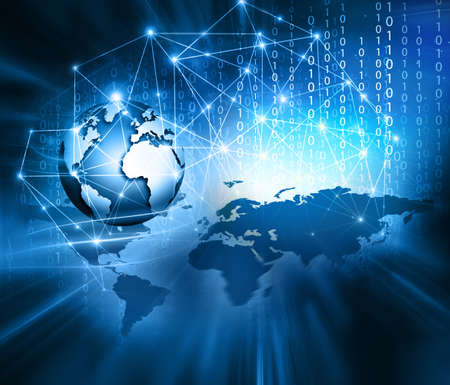 グローバル ビジネスの最高のインターネットの概念。グローブ、技術背景に光る線。WiFi、光線、インターネット、3 D の図の記号します。 写真素材 - 90762042